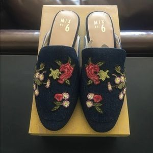 Embroidered Denim Mules NWT